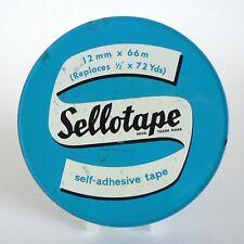 "VINTAGE SELLOTAPE LARGE 5"" TIN COLLECTABLE BOX 12MM X 66M 72YDS FUN METAL BOXES"
