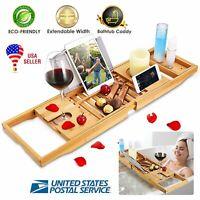 US Bathtub Caddy Bamboo Bath Tub Rack Tray Bathroom Cloth Book/Pad/Tablet Holder