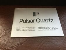 New  / Old   Stock Pulsar 1980 Whatch. Gurarantee. Warrantee.  Booklet Unstamped