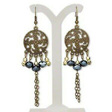 Earrings Floral Antiqued Brass Steampunk Chain Jewelry