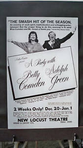 A PARTY WITH BETTY COMDEN & ADOLPH GREEN Window Card PHILADELPHIA 1976