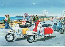 Lambretta scooter Innocenti Milan 1960 period seaside view motoring art  card ?