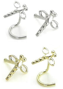 14kt Gold Dragonfly Nose Ring 20g Yellow or White, Screw or Stud/Bone