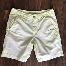 American Eagle Mens Prep Florescent Yellow Chino Dress Shorts Size 34x9.5 Cotton