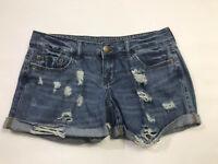 Rue 21 Juniors Size 3/4 Distressed Denim Short Shorts Low Rise Casual