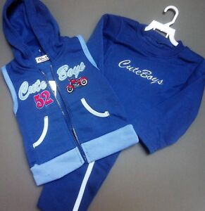 Navy Grey Blue Boy's Tracksuit Fleece 3 Piece Hooded Gilet Outfit Baby Set 1-5y