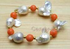 SALE 20-35mm White Baroque Natural Nuclear pearl & Pink Coral 7.5'' Bracelet-392