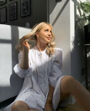 Zara BNWT White Broderie Anglaise Cutwork Embroidery Oversized Dress Size M