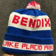 Vintage 1980 Winter Olympics Beanie w/ Pom Lake Placid Bendix Hockey Skiing Hat