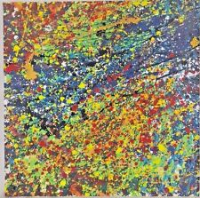 Modern Abstract Drip Painting Pollock-inspired Original Acrylic on Gypsum 16x16""