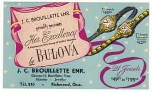 1940s Bulova Watch Advertising Stationery Card J. C. Brouillette Richmond Quebec