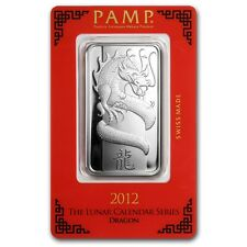 Brand New PAMP Suisse 1 oz Silver Bar 2012 Year of the Dragon Sealed in Assay.