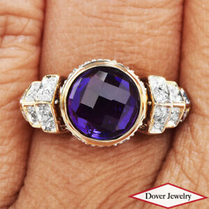 Estate Diamond 4.15cts Amethyst Citrine 14K Gold Spinning Ring 6.2 Grams NR