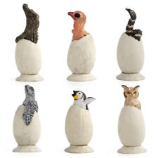 6Pcs Animal Hatch Eggs Crocodile Snake Owl Figure Model Toy Collector Decor Gift