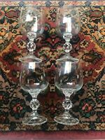 Import Associate Bohemian Crystal Claudia Wine Water Glasses Goblets Set of 4