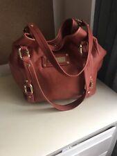 Authentic Calvin Klein Sholder Bag Handbag Genuine Leather Brown