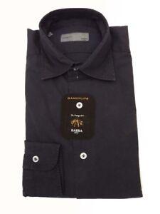 Barba Dandylife Shirt 17 Faded midnight blue/black soft collar Washed Cotton