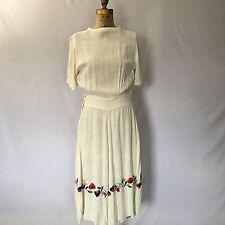 Vtg 1930's White Floral Embroidered Dress Peasant Boho Prairie Wedding Sz S/M