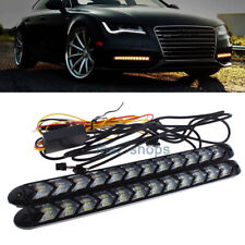 2Pcs 12 LED Knight Rider Strip Light White / Amber Arrow Flasher DRL Turn Signal