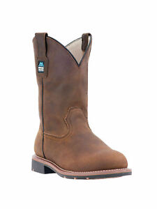 "Men's Mcrae 11"" Pull-On MR85384 Steel Toe Distressed Brown Boot"