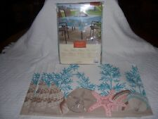 "S57)NWT-Sonoma-IN/Outdoor Oblong Umbrella Tablecloth 60""x84""&4-13""x18"" PlaceMats"