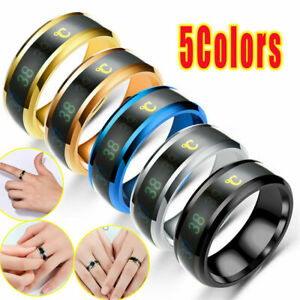 Fashion Rings for Men Band Temperature Display Jewelry Party Rings Size 6-13