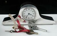Silver Key Wind Clock by Mappin & Webb in Original Box, London 1989