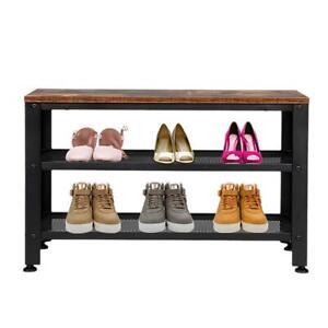 Industrial Shoe Bench Vintage Style Seat Rustic Metal Hallway Storage Tier Rack