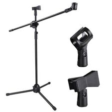 360-degree Rotating Microphone Foldable Stand Dual Mic Clip Boom Arm Tripod