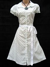 SIZE 16 VINTAGE 40'S WW2 LANDGIRL STYLE TEA DANCE DRESS WHITE BLUE ~ US 12 EU 44