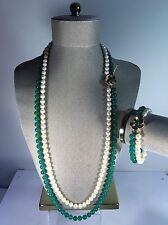 Chalcedony Quartz Cultured Pearl Necklace & Bracelet Set w/ Fancy 14K Clasps