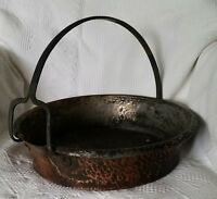 Copper Caldron Hand Hammered Pot Iron Handle Spout Antique Primitive Hearth