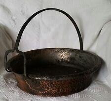 Copper Hand Hammered Pot Cauldron Iron Handle Spout Antique Primitive Hearth