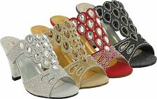 LADIES BLOCK HIGH HEEL BRIDAL CASUAL SMART SLIP ON  PARTY SHOES UK SIZES 3-8