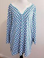 Susan Graver Womens Size XLarge Top 3/4 Sleeve XL Tunic Blue and Aqua Ikat Print