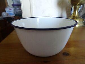 Vintage enamel pudding basin white with blue trim Falcon