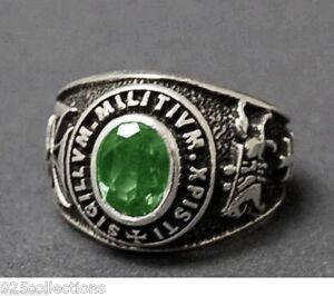 9x7 mm 925 Sterling Silver May Green Birthstone Knights Templar Men Ring Size 12