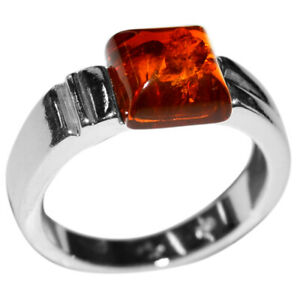 4.37g Authentic Baltic Amber 925 Sterling Silver Ring Jewelry N-A7149 s.8