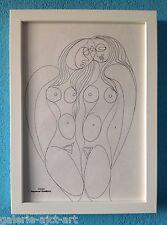 Raymond TRAMEAU Feutre Dessin 1960 Encadré Organique Nue Atelier Femmes Picasso