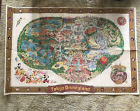 Tokyo Disneyland Large Wall Park Souvenir Map Guide Poster Disney Vintage 1980s