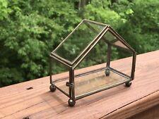 Mini Green House Tabletop Glass & Brass Miniature Succulent Garden Terrarium