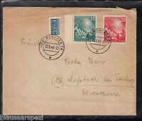 A 24 ) Germany toller Beleg 111 - 112 als Mischfrankatur von München 12.09.1949