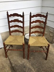 Set of 2 Rustic Farmhouse Ladder Back Dining Rush Seat Chairs - American Charm