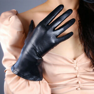 """REAL LEATHER TECH LONG GLOVES Black 11"""" 28cm Wrist Wide Balloon Puff Sleeves"""