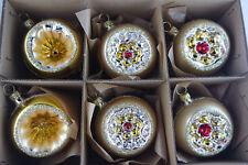 6 traumhaft schöne Reflexkugeln Mattgold, Gold 6cm Christbaumschmuck Lauscha