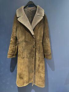 vintage Retro long sheepskin jacket coat