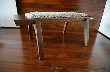 Minimalist Mahogany wood indoor bench - upholstered Gotland sheepskin rug - 1