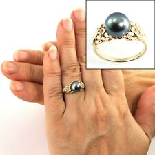 AAA 8.5-9mm Black Cultured Pearl & Diamonds 14k Yellow Gold Solitaire Ring TPJ