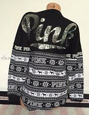 Victoria's Secret Pink Dog Fair Isle Silver Sequin Bling Holiday Varsity Crew -M