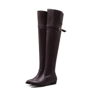 Black/Brown/Beige Womens Low Heel Leather Over the Knee Knight Long Boots Flats